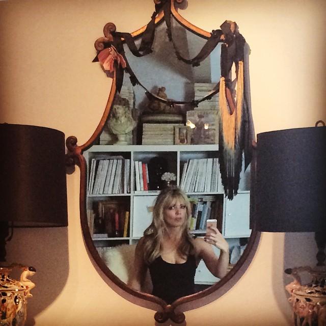 selfie in mirror-between two lamps