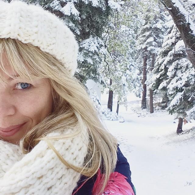 selfie in the snow in spring