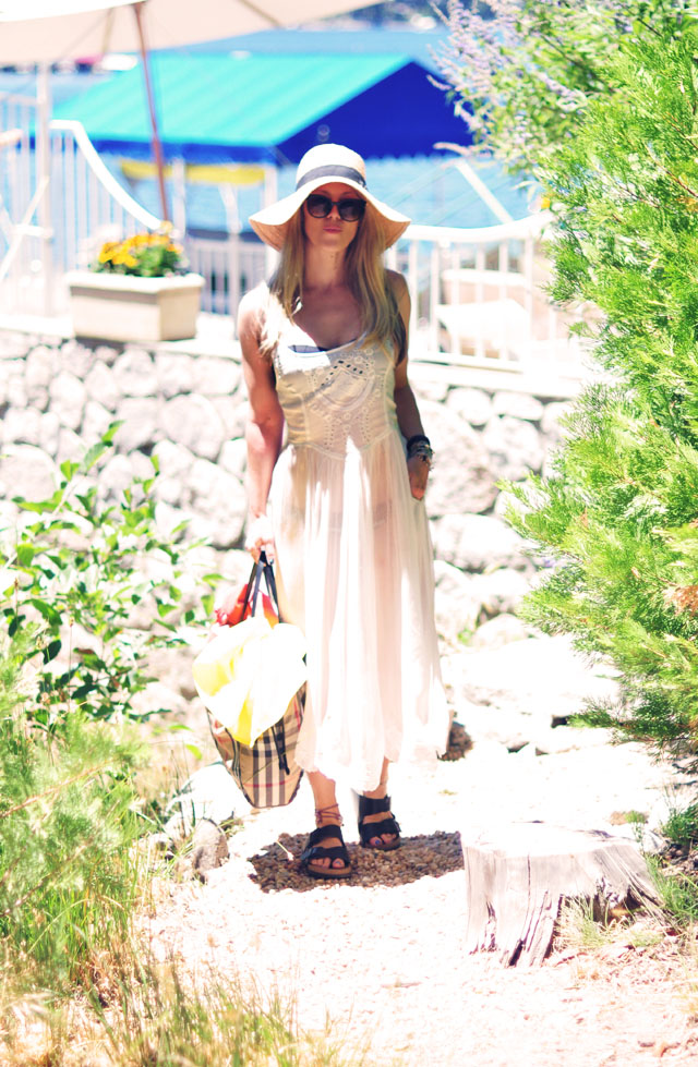 sheer dress- lakeside-burberry bag-birkenstocks