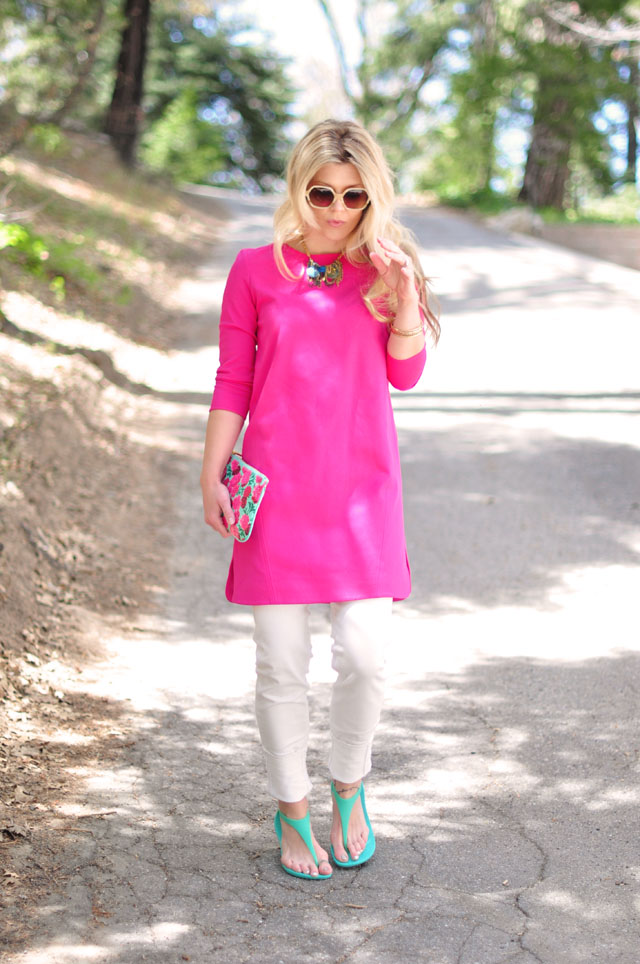 shift dress with white jeans