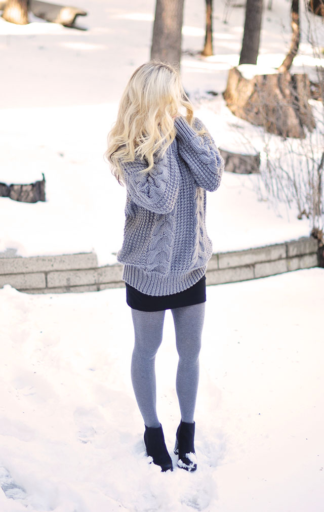 skirt and tights in the snow