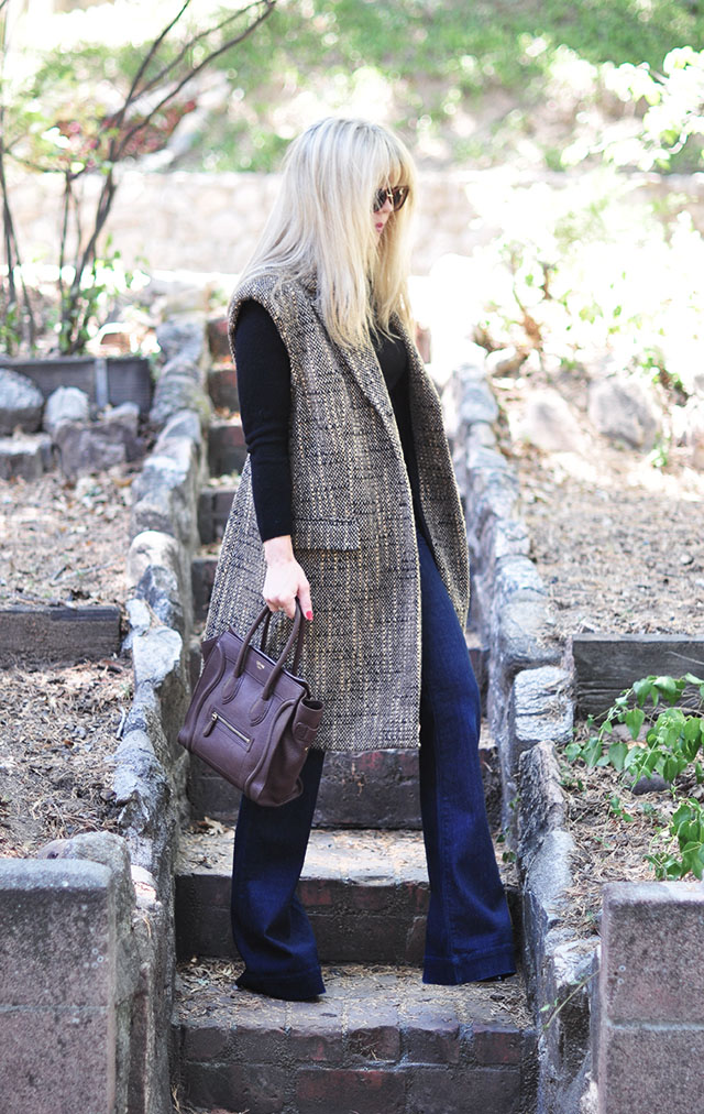 sleeveless tweed coat-diy -celine bag-flares