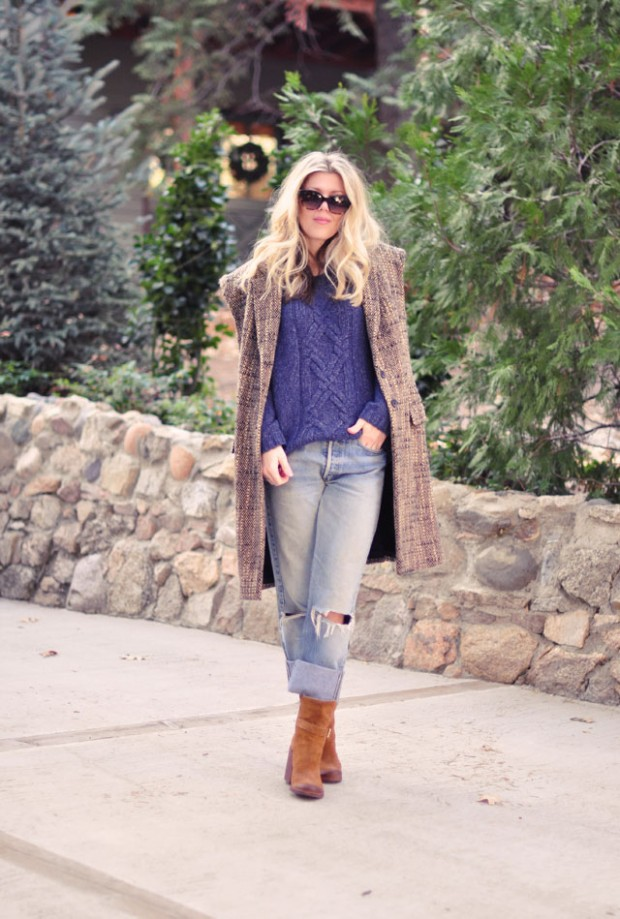 sleeveless tweed coat-old levis
