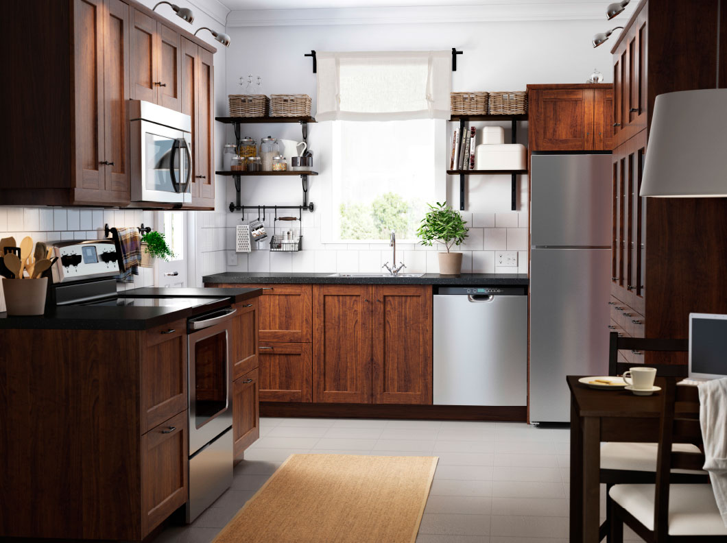small kitchen dark cabinets