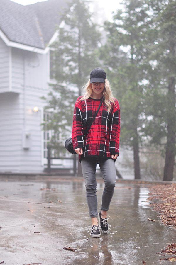 spring rain_grey jeans_vans_plaid sweater