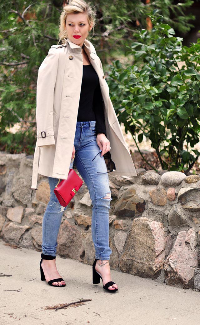 spring trench coat_ jeans and bodysuit_red lips