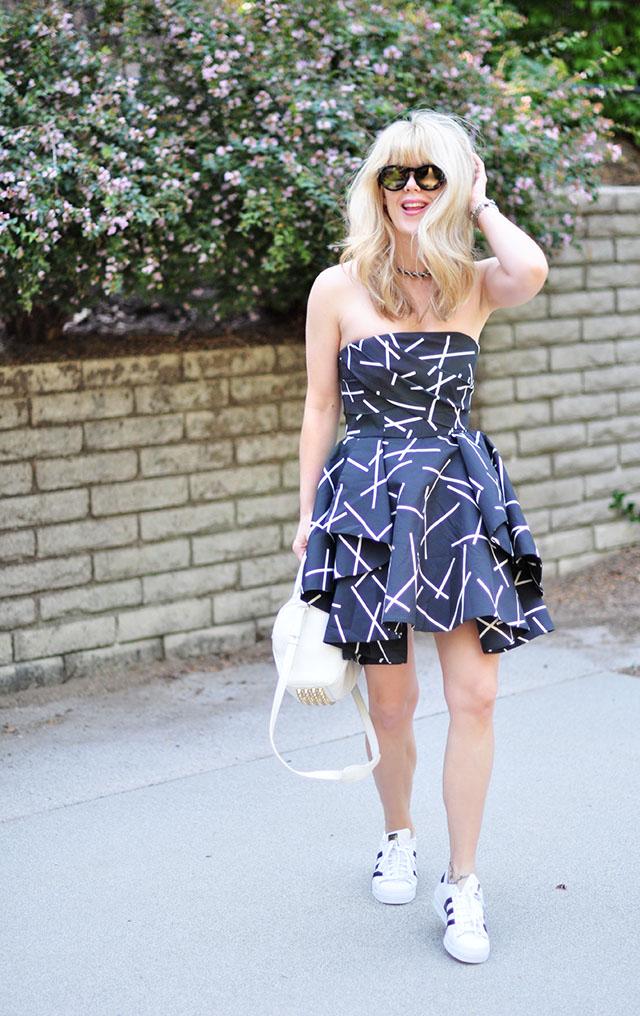 strapless dress + adidas superstars