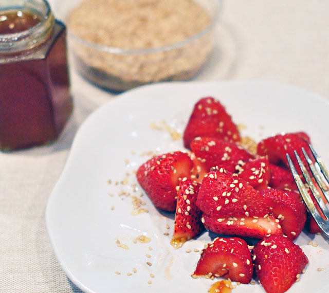 strawberries with raw honey sesame seeds