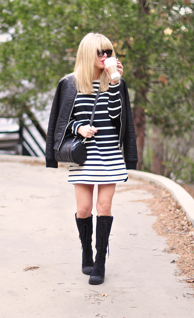 striped dress + leather bomber+combat boots