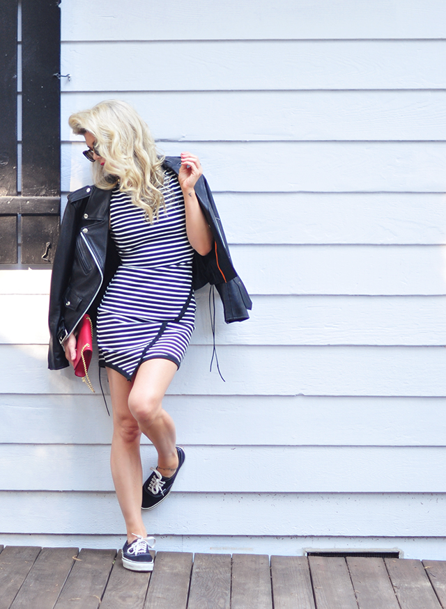 striped dress_black white and red outfit_style