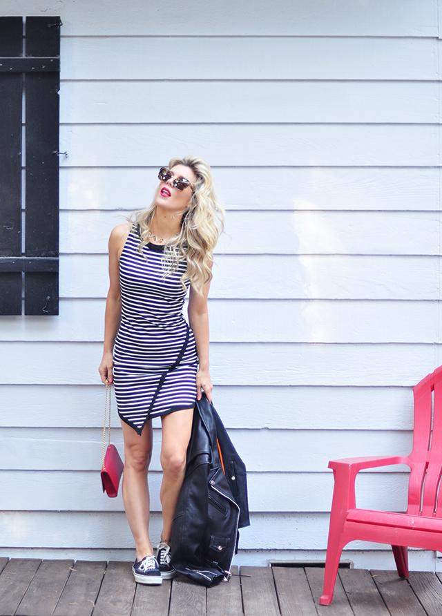 striped dress_vans