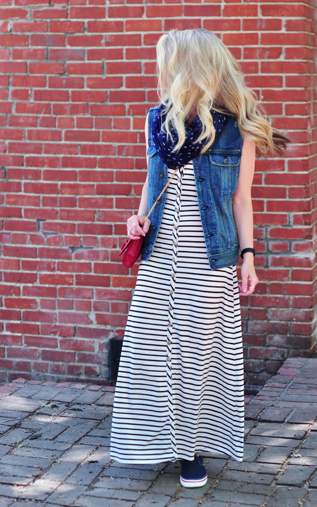 striped jersey maxi for the 4th of july