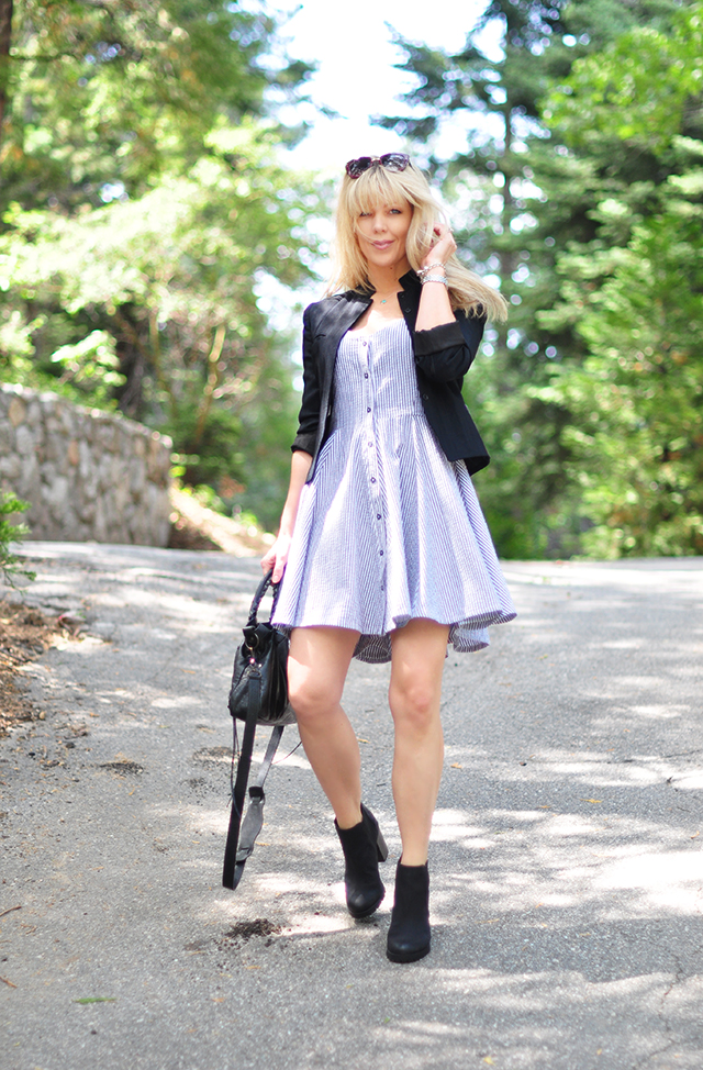 summer dress with boots and blazer