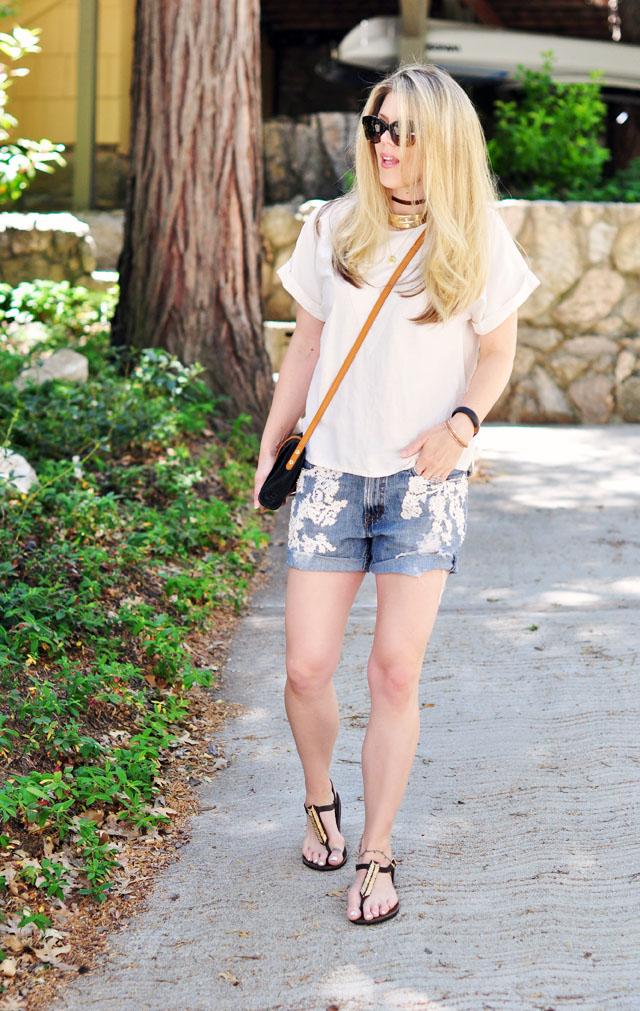 summer lace jean cut off shorts