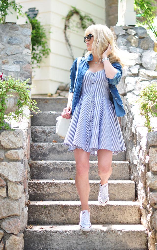 summer seersucker button up dress_chambray_sneakers