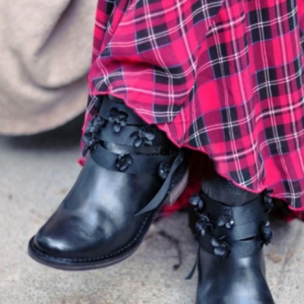 tartan maxi dress flowers on boots