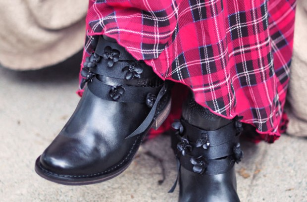 tartan plaid dress-black boots with flowers