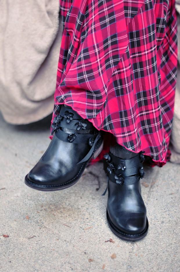 tartan skirt-flowers on boots-5