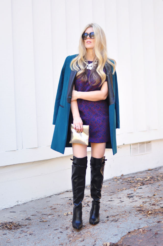 teal coat-60s look-altuzarra boots for Target style