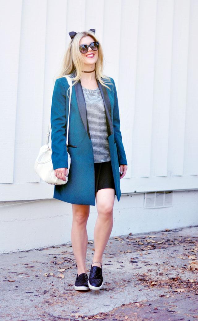 teal coat- quilted slip on sneakers-sporty cute look