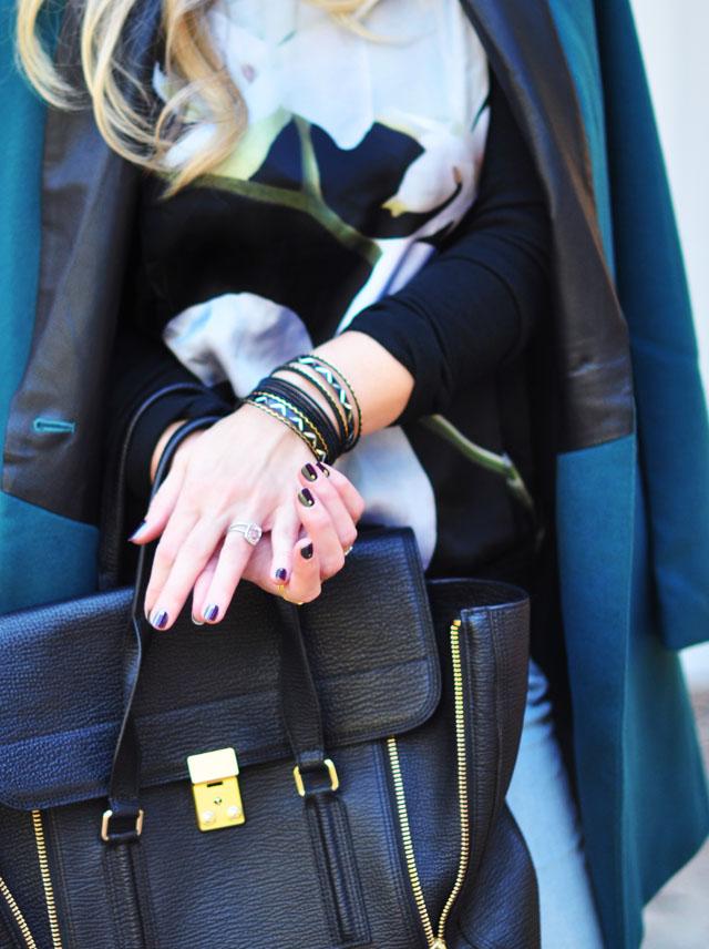 teal coat_altuzarra sweatshirt_jewel nails_phillip lim large pashli bag