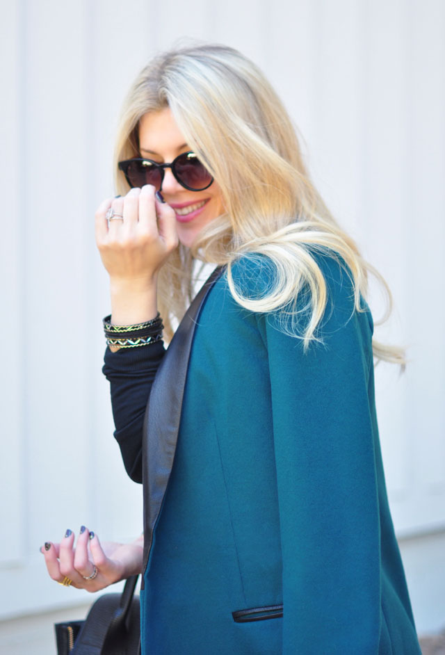 teal coat_black and gold bangles_tierry lasry sunglasses