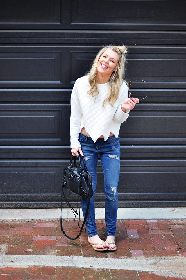 tiny top knot_jeans_flip flops_balenciaga bag