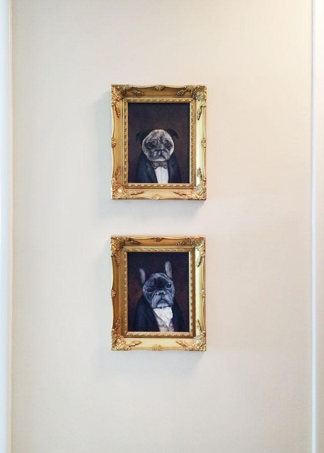 victorian dog portraits-pug-frenchie