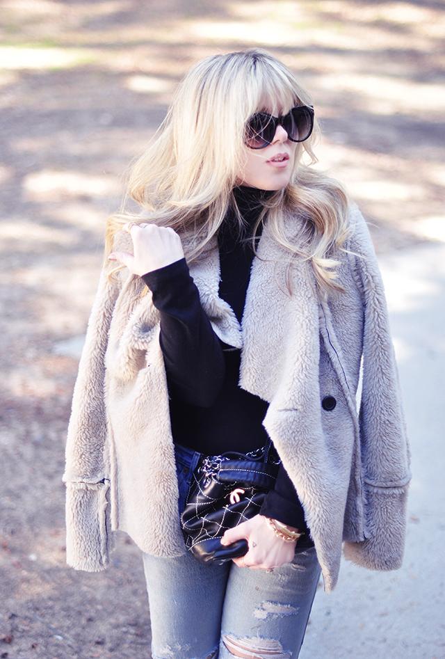 vintage chanel bag_faux fur jacket