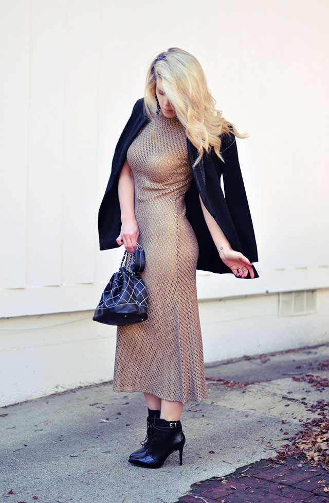 vintage gold mesh dress +black blazer+chanel bucket bag