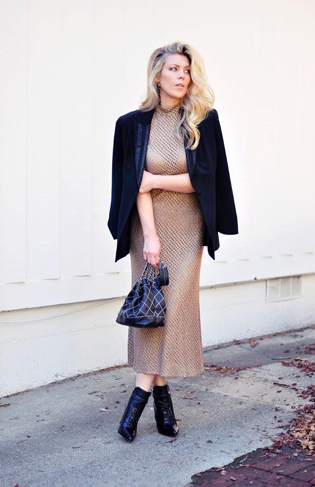 vintage gold mesh dress +blazer