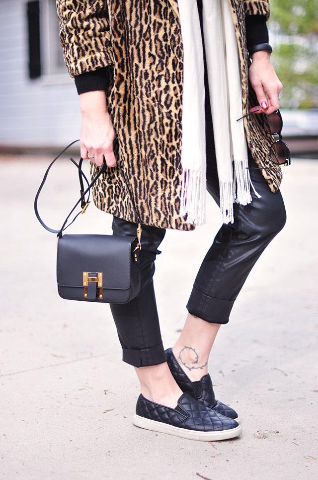 vintage leopard coat- Sophie Hulme bag-quilted sneakers