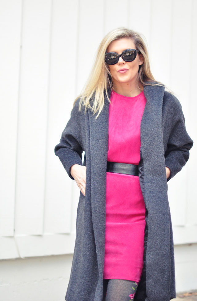 vintage pink dress and gray coat-1