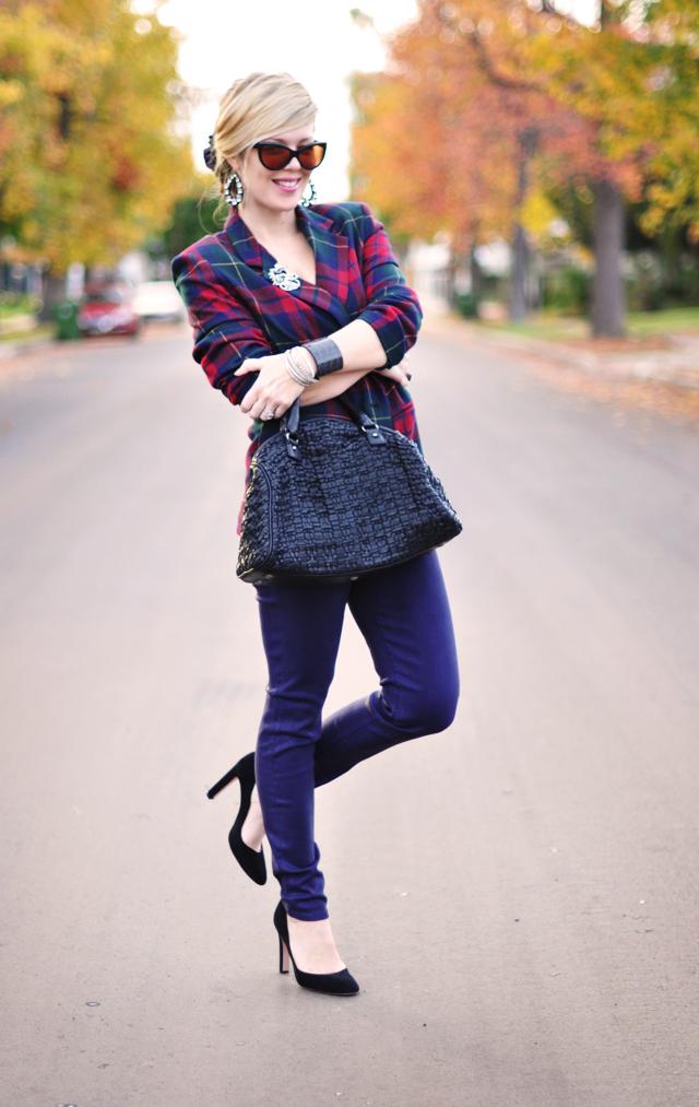 vintage plaid blazer purple jeans