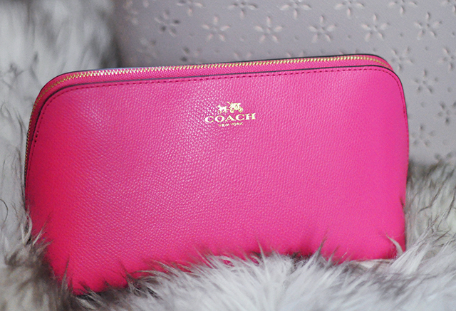 watermelon pink coach cosmetic pouch case