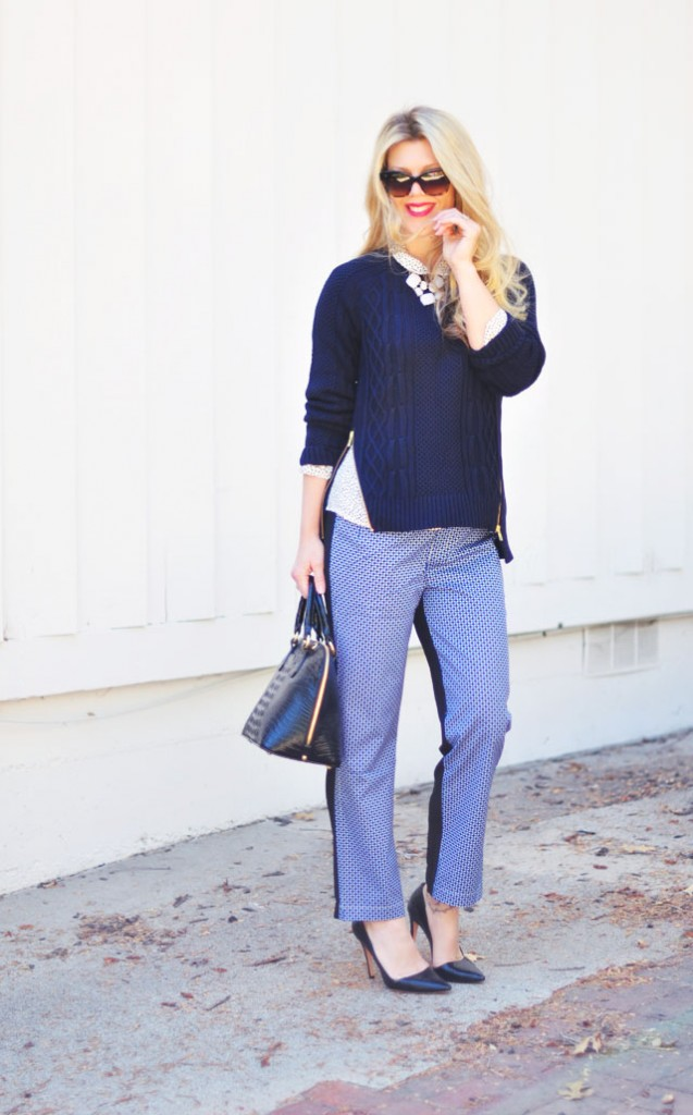 wearing navy, blue, and black