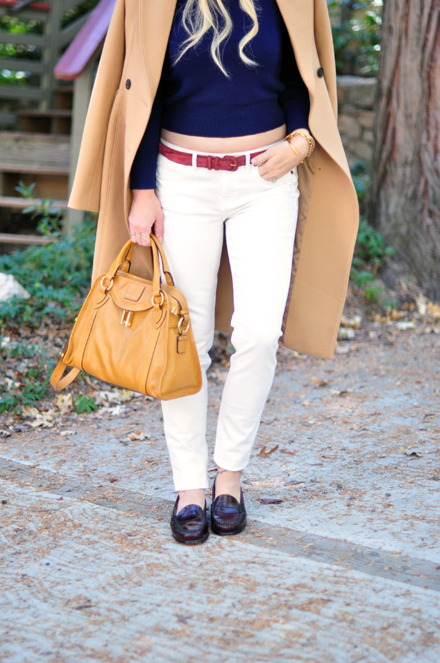 white+camel coat +burgundy+navy