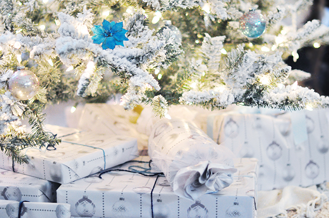 white christmas wrapping paper with ornaments