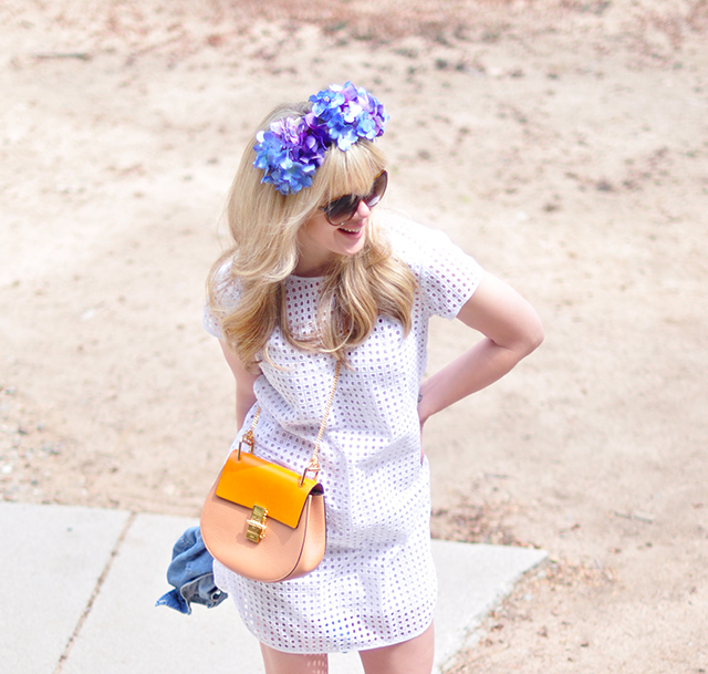 white dress_chloe bag_flower crown