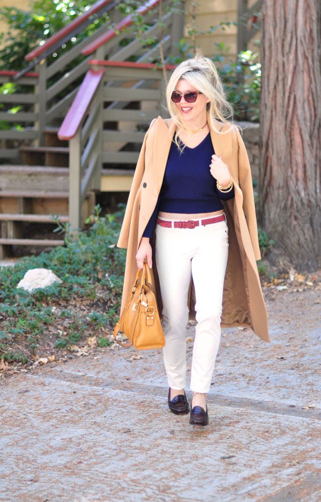 white jeans +camel coat+loafers