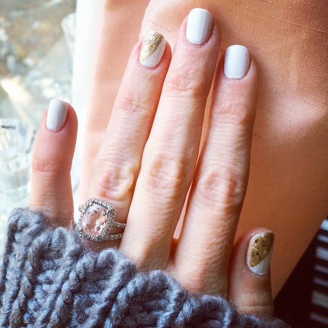 white nails with gold accents-cushion cut engagement ring