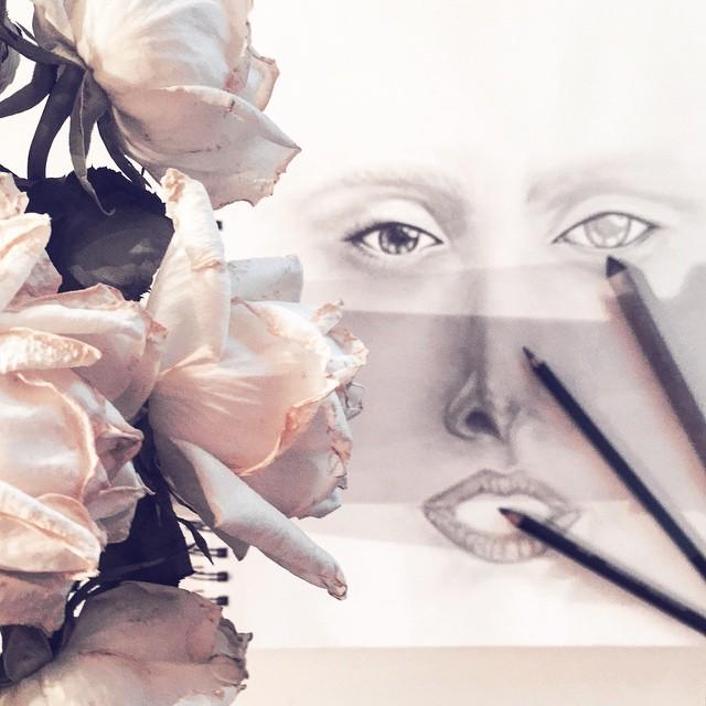 wilting white roses_lady gaga art sketch wip