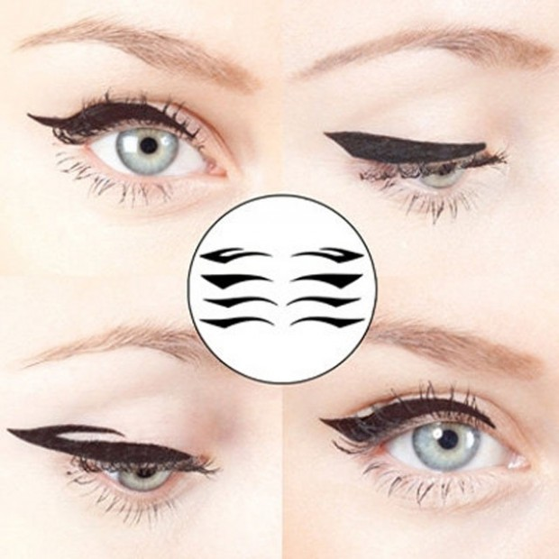 winged temporary eye makeup tattoos
