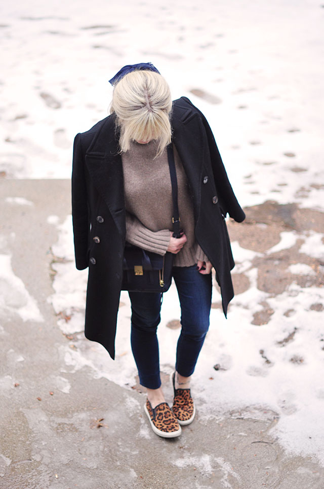 winter layers - leopard shoes