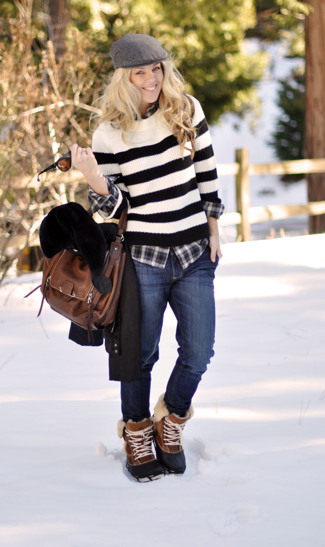 winter outfit in the snow - stripes-plaid-pageboy cap-newsboy