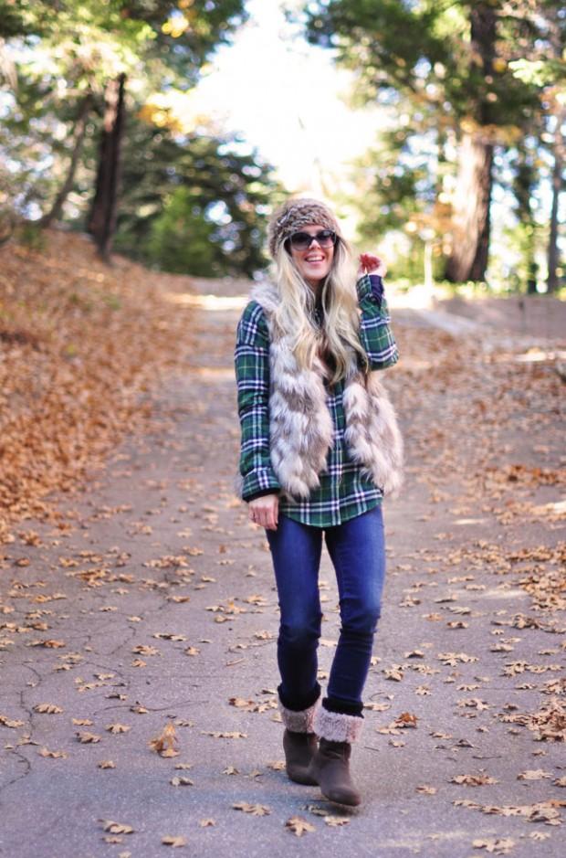 winter style-fur vest plaid shirt-jeans
