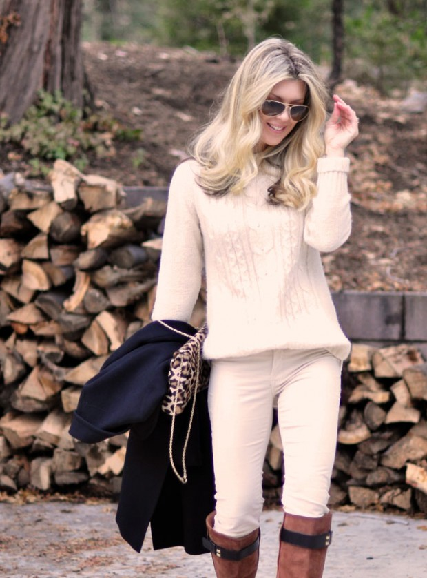 winter white outfit+navy+ brown+leopard