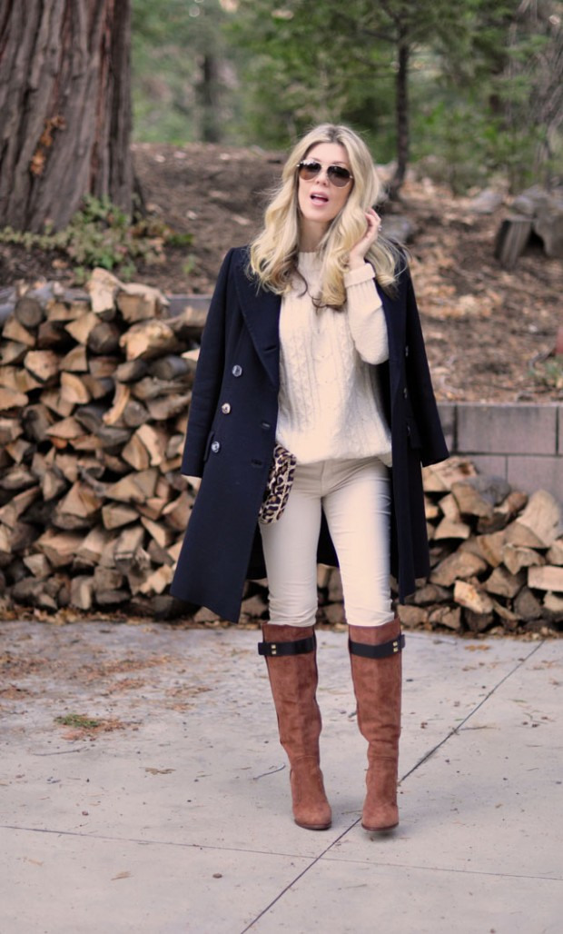 winter white outfit+navy_ cognac_aviator sunglasses