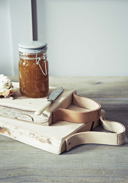 DIY Bread Board with Leather Strap Handles
