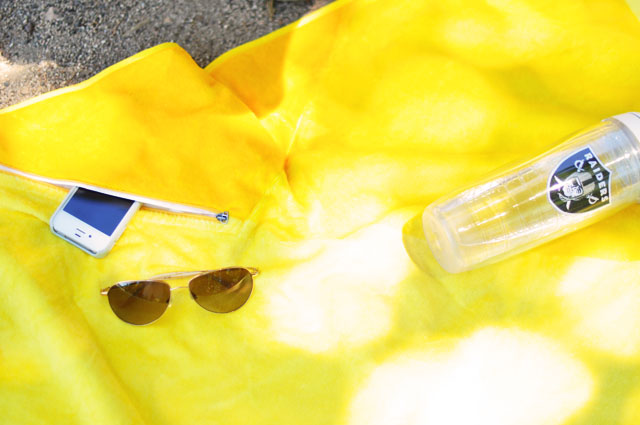 yellow vertty beach towel with pocket